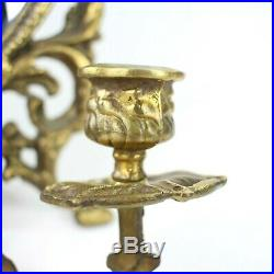 Pair of 2 vtg antique Brass Oval Mirror Candelabra Wall Sconce Gold Matching Set