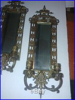 Pair of Antique Brass Frame Mirror Candle Holder Wall Sconces Neoclassical Motif