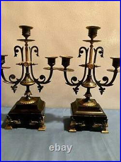 Pair of Antique Brass and Marble onyx base Candelabras