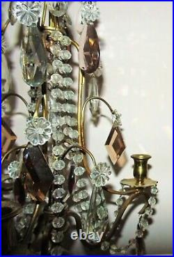 Pair of Antique French Brass Candelabra Cascading Glass Beads & Prisms Set