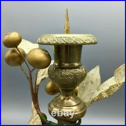 Pair of Antique French Brass Candleholders Gold Gilt Berries Vine 19th Century