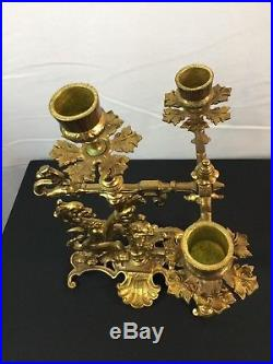 Pair of Antique Vintage Brass Lion Dragon 3 place Candlestick Holders