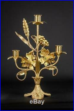 Pair of Candelabras Bronze Brass 3 Lights Tier Two Antique Candle Holders 13