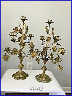 Pair of French 19th Century Brass Altar Candelabra