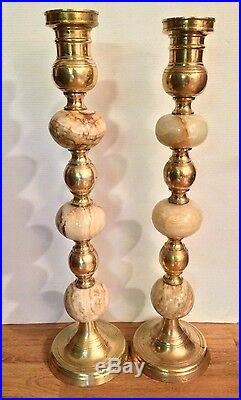 Pair of Heavy and Tall 24 Marble Brass Alter Church Candlesticks