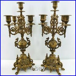 Pair of Italian Brevettato Style Five Light Brass Baroque Candelabras Signed 17