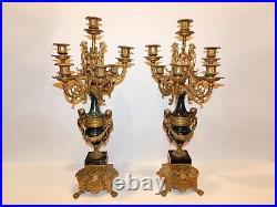 Pair of Italian Brevettto Brass and Marble Candelabras