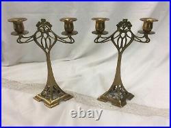 Pair of Jugendstil Art Nouveau Candlesticks Brass