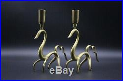 Pair of Karl Hagenauer Figural Brass 1930s Art Deco Candle Holders, Candlesticks
