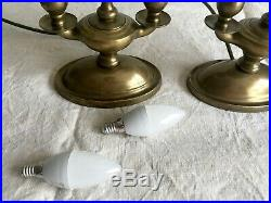 Pair of Laura Ashley antique brass style twin candle holder shaped Table Lamps