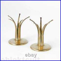 Pair of'Liljan' Candlestick Candle Holder Brass Design Ivar Ålenius-Björk 1939