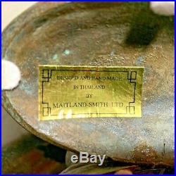 Pair of Maitland Smith Aged Bronze/Brass Koi Fish 7 1/4 Candlesticks Excellent
