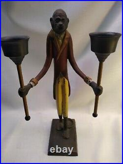 Pair of Maitland Smith Monkey Butler candle holder/match holders