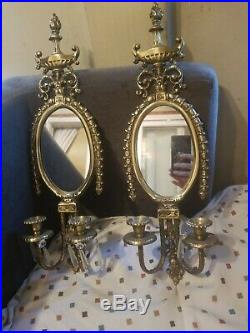 Pair of ORNATE BRASS ROCOCO style WALL MIRROR & CANDLEHOLDER hollywood regency