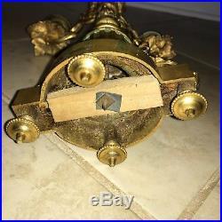 Pair of Ornate Louis XVI Style Brass 4-Light Candelabra