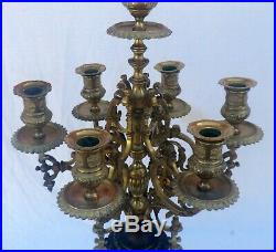 Pair of Ornate Patinated Bronze and Brass 7-Light Candelabras, Each 22 Lbs, 29