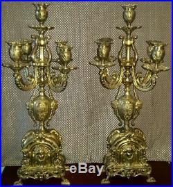 Pair of Ornate Vintage Antique French Rococo Style Putti Lion Brass Candelabras