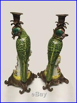 Pair of Porcelain and Brass Parrot Candleholders