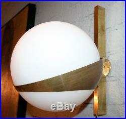 Pair of Stilnovo Style Brass Sconces with White Glass Balls