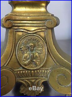 Pair of Tall 19th Century Brass French Baroque Style Candlesticks Candle Holder