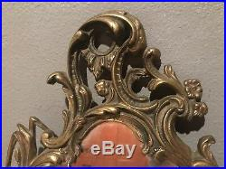 Pair of Victorian Rococo Brass Ornate Mirror candle holders