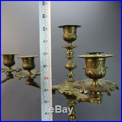Pair of Vintage Antique Ornate Brass & Marble Footed 4 Candle Candelabras