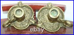 Pair of Vintage Brass Bronze Thistle Pattern Chamberstick Candlestick Holders