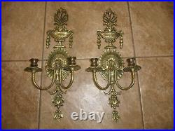 Pair of Vintage Double Arm Heavy Metal Bronze Brass Candle Holder Wall Sconces
