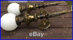 Pair of Vintage GIM Model 571 Electric Brass Wall Sconces With Glass Globes