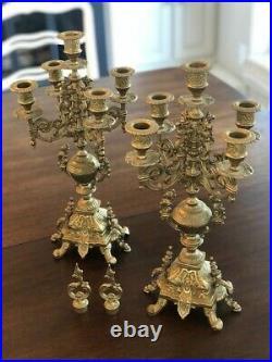 Pair of Vintage Italian Brevettato Baroque Brass Candelabras with Snuffers