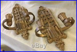 Pair of Vintage Solid Brass Gothic Wall Sconces Candle Holders Set Ornate