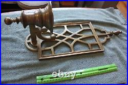 Pair of Vintage Wall mounted candle holder sconces Brass XL Art Deco window 20