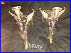 Pair of Wall Sconces Winged Mermaids Candle Holders