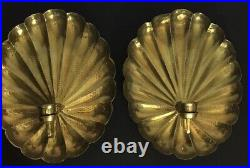 Pair of Wildwood Vintage Scalloped Hammered Brass Shell Sconces Candleholders