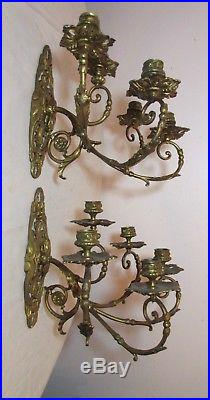 Pair of antique ornate Victorian bronze wall candle holder sconce fixtures brass