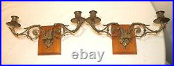 Pair quality antique gilt bronze ornate empire wall candle holder sconce brass