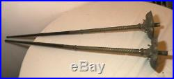 Pair rare antique 1800's brass wood processional Catholic Church candle holders