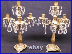 Pair vintage antique metal brass candleabras 4 candle glass prisms