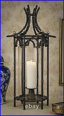 Palace Garden Pagoda Shape Hurricane Lantern Pillar Candle Holder 31h