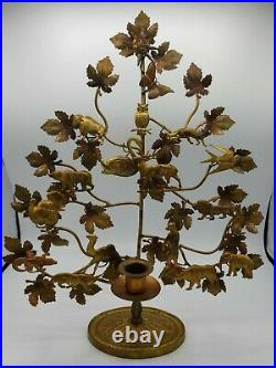 Petites Choses Dresden Brass Tree Of Life Candle Holder Animals 16 1/2 Tall