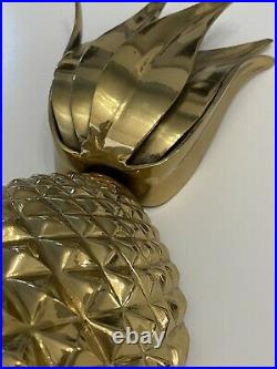 Pineapple Gilt Metal Wall Candle Holder Sconce Set Hollywood Regency Gold Vtg
