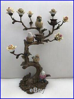 Porcelain Brass Candlestick Candle Holders Handpainted Flowers & Birds