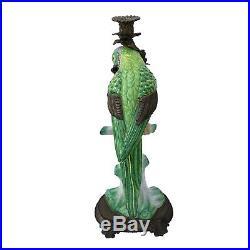 Porcelain & Brass Castilian Parrot Candlestick Candle Holder Vintage