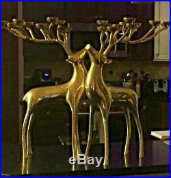Pottery Barn Brass Deer Candle Holder Pair Candelabra 10 Candle 20 tall Stag