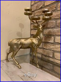 Pottery Barn Reindeer Multi Votive Candle Holder Standing Deer Brass Gold Stag