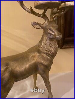 Pottery Barn Stag Reindeer Votive Candle Holder Standing Deer Brass Gold Mantle