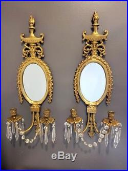 Pr Antique Bronze Brass Wall Sconce Candle Holders Beveled Glass Mirror Prisms