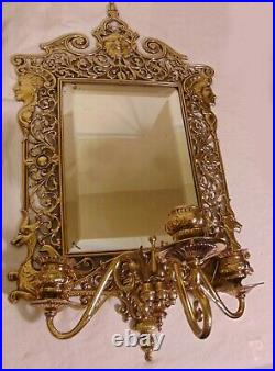 Pr Antique English Sheffield Brass Mirrored Wall Sconces Candle Holders Face