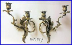 Pr Antique FRENCH Bronze Brass Wall SCONCES Candleholders ROCOCO Louis XV