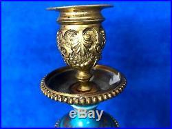 Pr Antique French Candelabra Candle Holder Gild Brass & Sevres Porcelain Floral